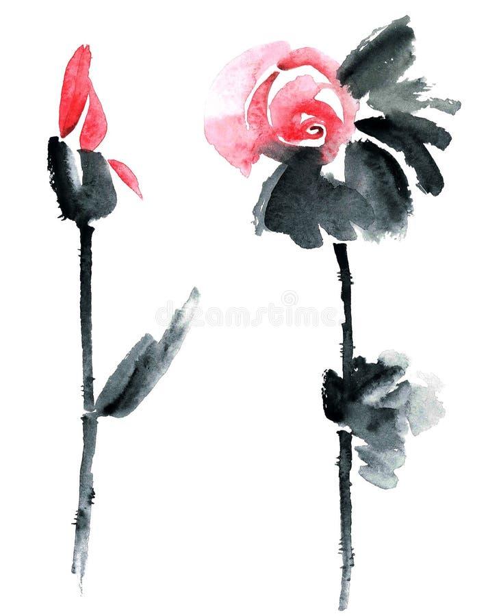 Akwarela malujący kwiaty ilustracji