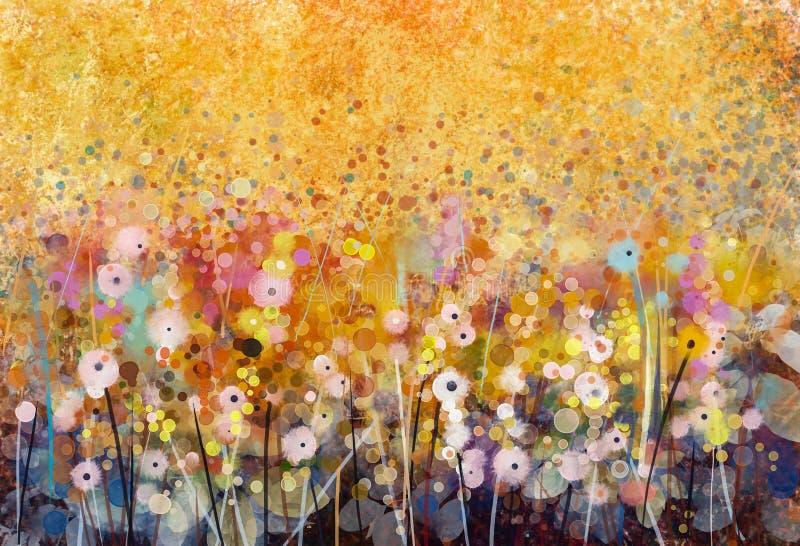Akwarela maluje białych kwiatów pola