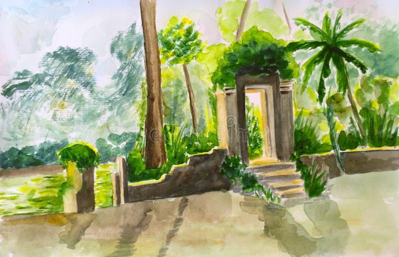Akwarela maluje stare bramy w zielonej dżungli fotografia royalty free