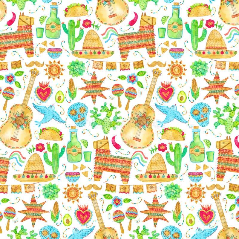 Akwarela Mexico, cinco de Mayo bezszwowy wzór Meksykański tło royalty ilustracja
