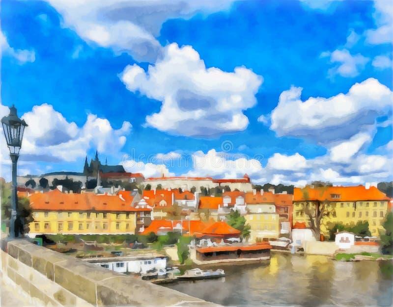Akwarela miastowy krajobraz Praga, republika czech ilustracja wektor