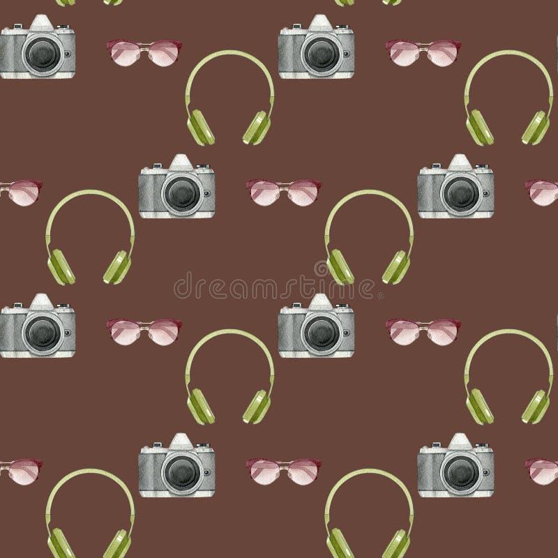 Akwarela modnisia bezszwowy wzór z fotografii kamerą, okulary przeciwsłoneczni, hełmofony na brown tle ilustracja wektor