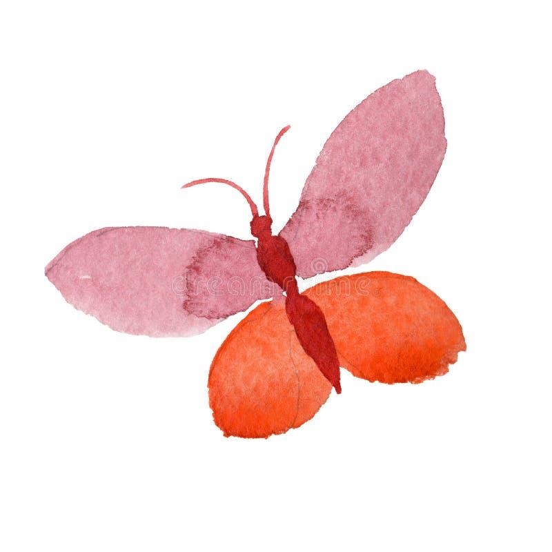 Akwarela motyla oferty insekt, intresting ćma, odizolowywał skrzydłową ilustrację royalty ilustracja