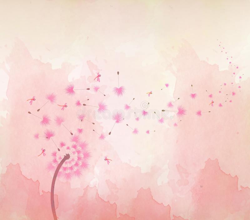 Akwarela motyle i kwiecisty tło royalty ilustracja