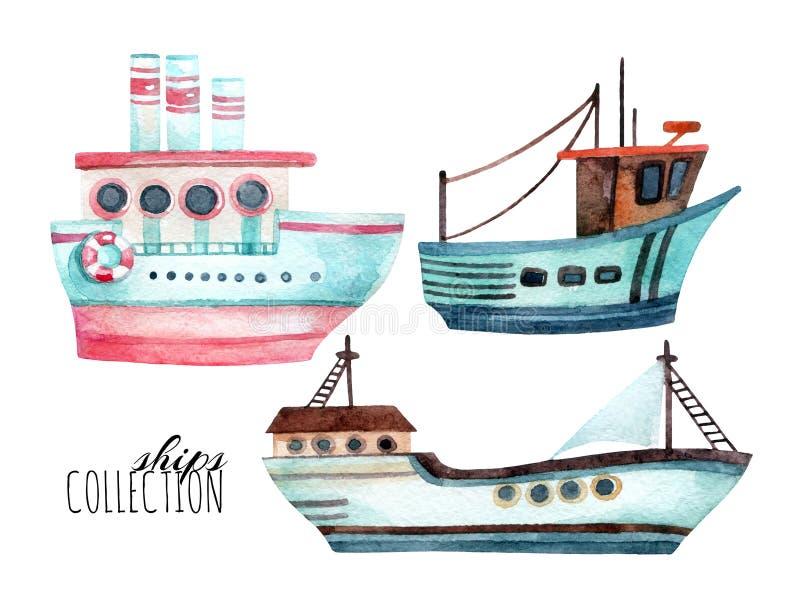 Akwarela nowożytni statki ustawiający royalty ilustracja