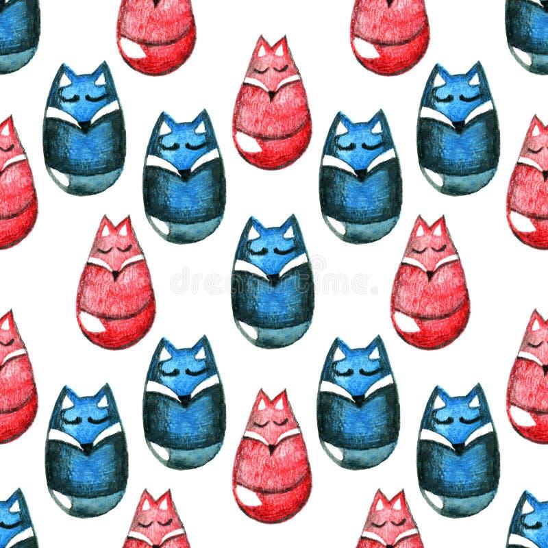 Akwarela ołówkowy bezszwowy wzór z lisami i wilkami na białym tle ilustracja Pociągany ręcznie dekoracyjny royalty ilustracja