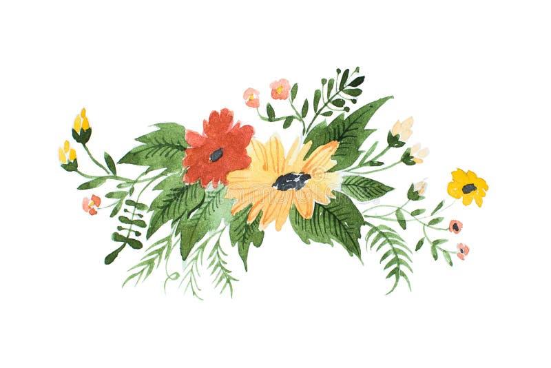 Akwarela obraz dzikich kwiatów boutonniere pociągany ręcznie royalty ilustracja