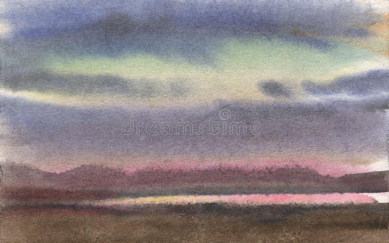 Akwarela obraz, krajobraz, zmierzch Brzeg Rzeki, jezioro, staw z górami na horyzoncie przeciw różowemu niebu ilustracja wektor