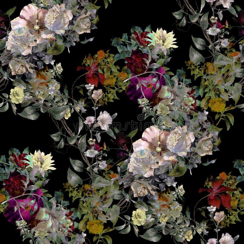 Akwarela obraz liść i kwiaty, bezszwowy wzór na ciemnym tle royalty ilustracja