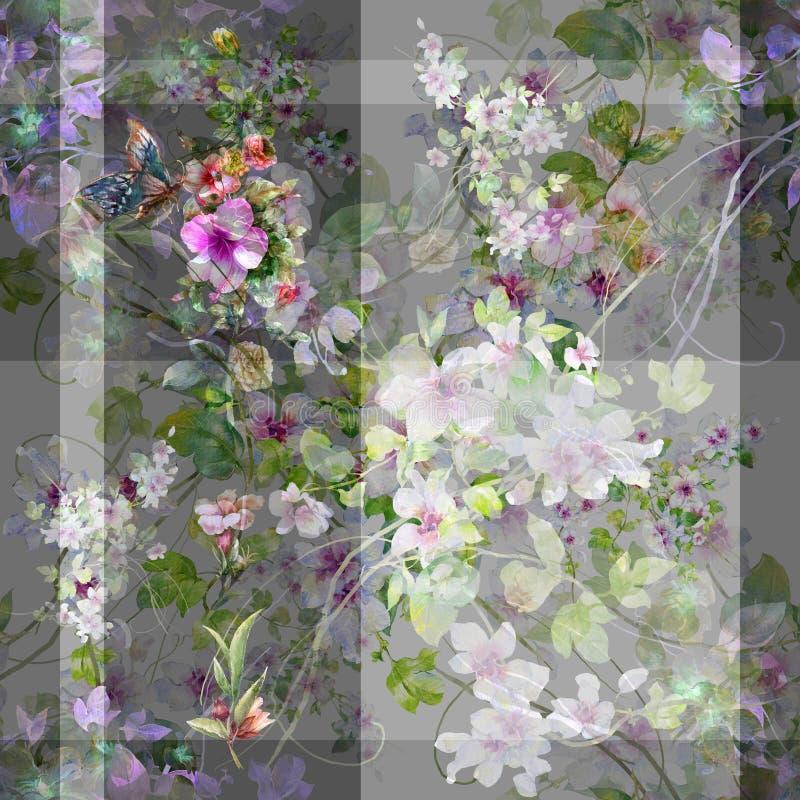 Akwarela obraz liść i kwiaty, bezszwowy wzór na szarość ilustracja wektor