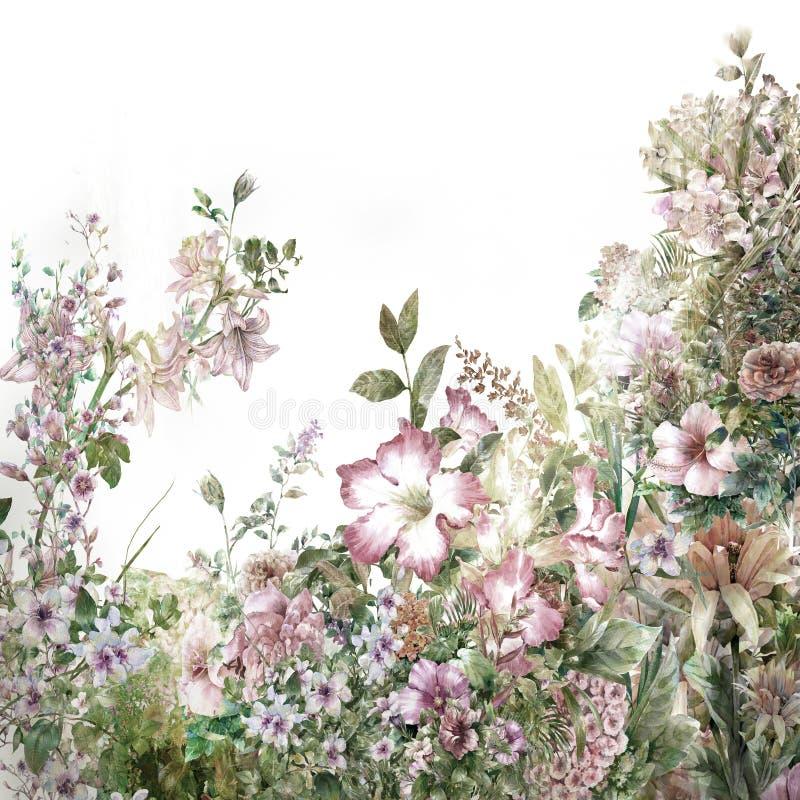 Akwarela obraz liście i kwiat royalty ilustracja