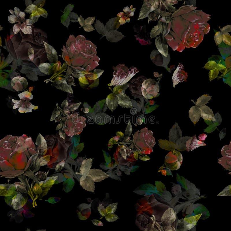 Akwarela obraz li?? i kwiaty, bezszwowy wz?r na zmroku ilustracji