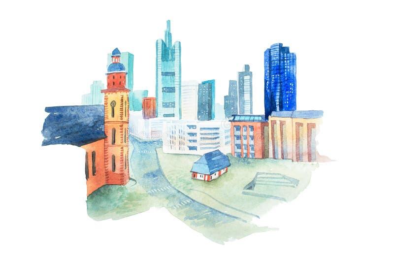 Akwarela obraz nowożytny miasto z małym domem ilustracji