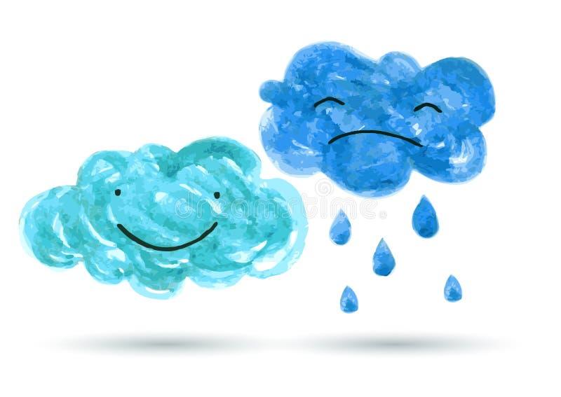 Akwarela obraz uśmiecha się jesieni chmurę i płacze, Wektorowa bolączka ilustracji