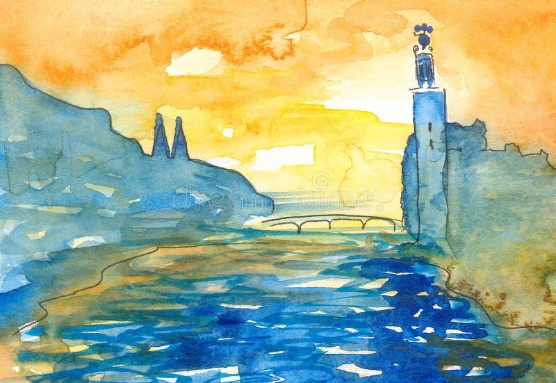 Akwarela obraz w abstrakcjonistycznym naivistic stylu Sztokholm scena przy zmierzchem ilustracji