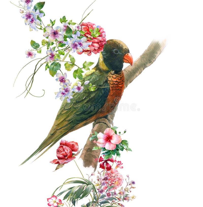 Akwarela obraz z ptakiem i kwiatami, na białym tle ilustracji