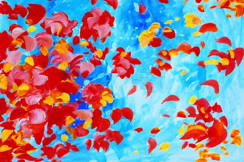 Akwarela obraz z różanymi płatkami, ilustracja, tło, w ilustracja wektor