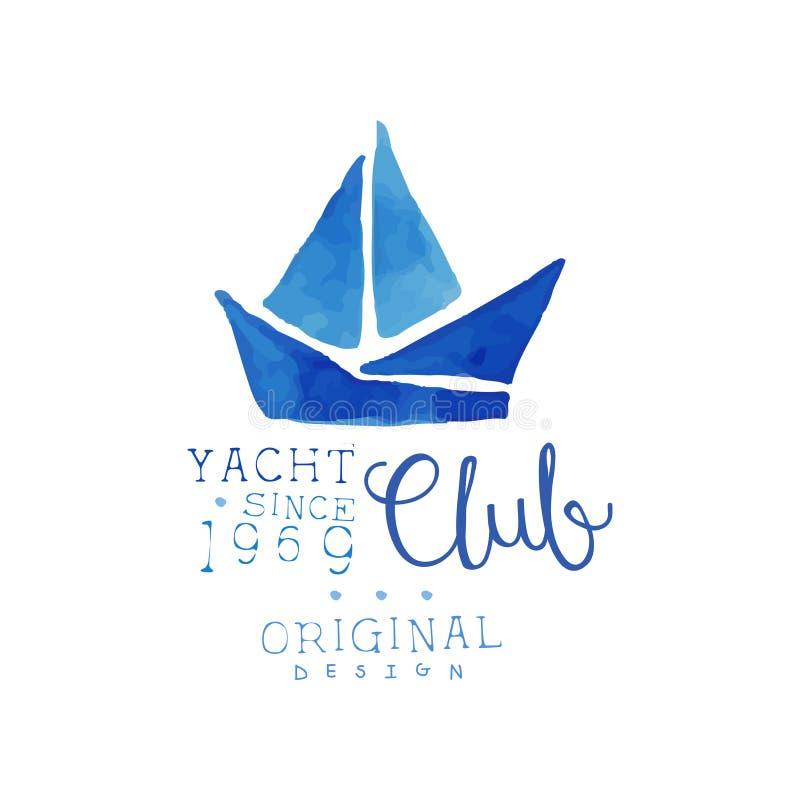 Akwarela obraz z sylwetką żaglówka Oryginalna ręka rysujący emblemat dla jachtu klubu błękitny morski denny bezszwowy temat Denna royalty ilustracja