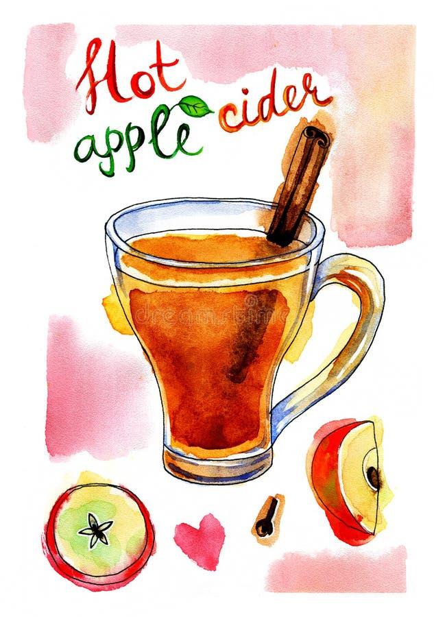 Akwarela obrazek jabłczany cydr z cynamonem ilustracja wektor
