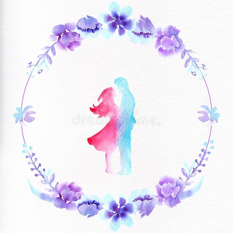 Akwarela obrazka rama kwiaty i para w miłości ilustracja wektor