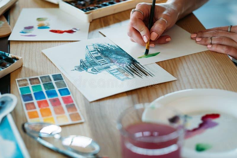 Akwarela obrazu artysty pracy koloru brushstrokes fotografia royalty free