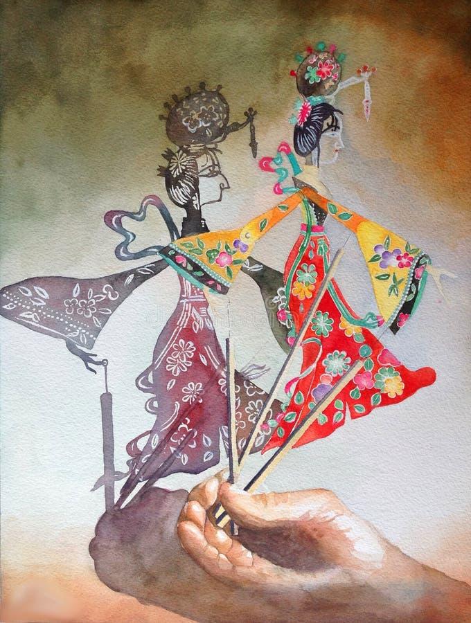 Akwarela obrazu cienia sztuki ilustracyjnego tradycyjni chińskie ludowa sztuka zdjęcia stock