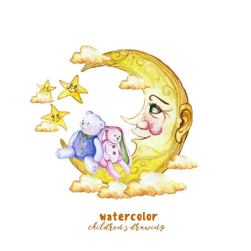 Akwarela obrazu druku dzieci ` s ilustracja z, gwiazdy w niebie, pomarańcz chmury i, i ilustracji
