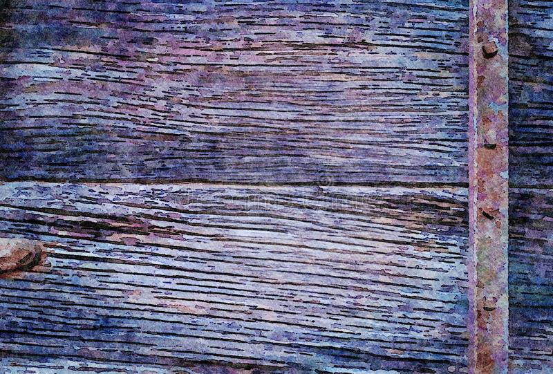 Akwarela obrazu grunge wakacyjny tło stare drewniane deski zdjęcie royalty free