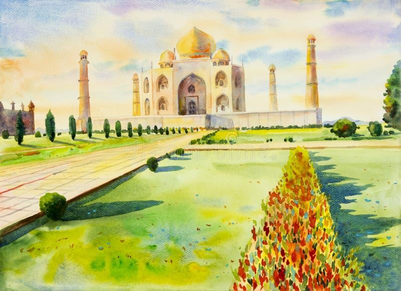 Akwarela obrazu krajobraz archeologiczny miejsce w Taj mahal obraz stock