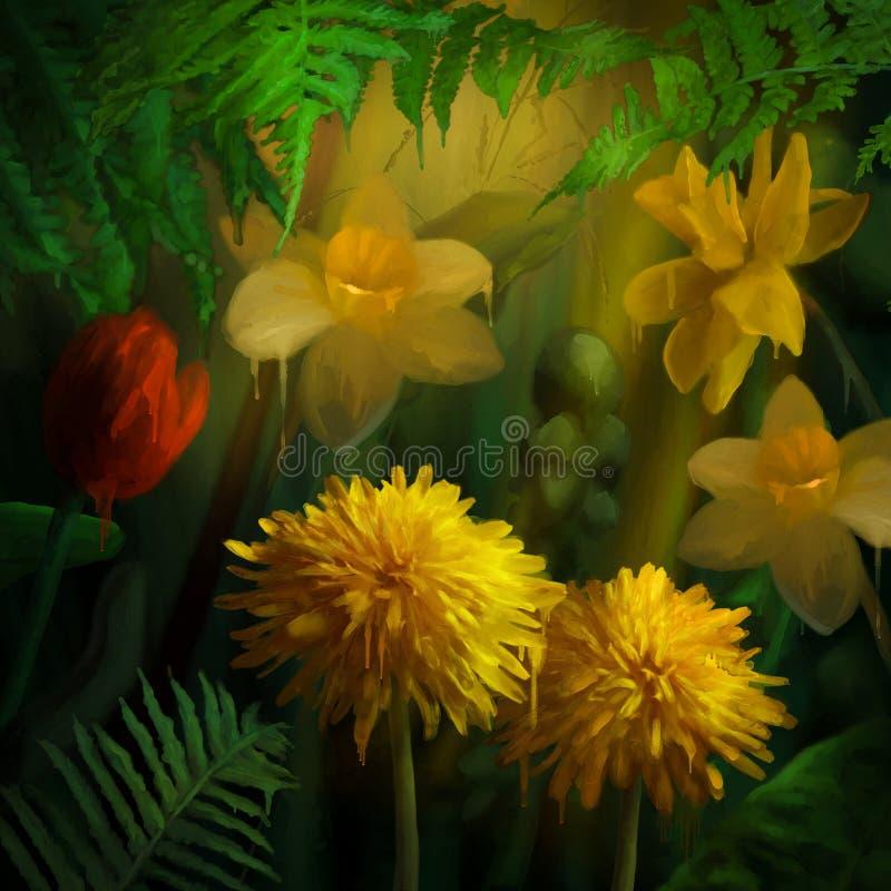 Akwarela obrazu kwiaty ilustracja wektor