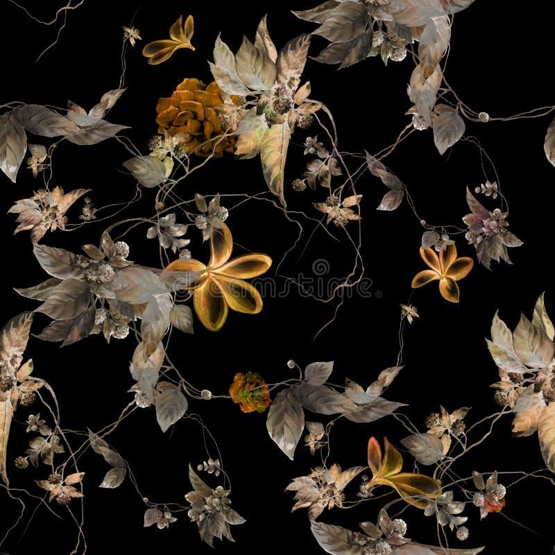 Akwarela obrazu liść i kwiaty, bezszwowy wzór na ciemnym tle ilustracji