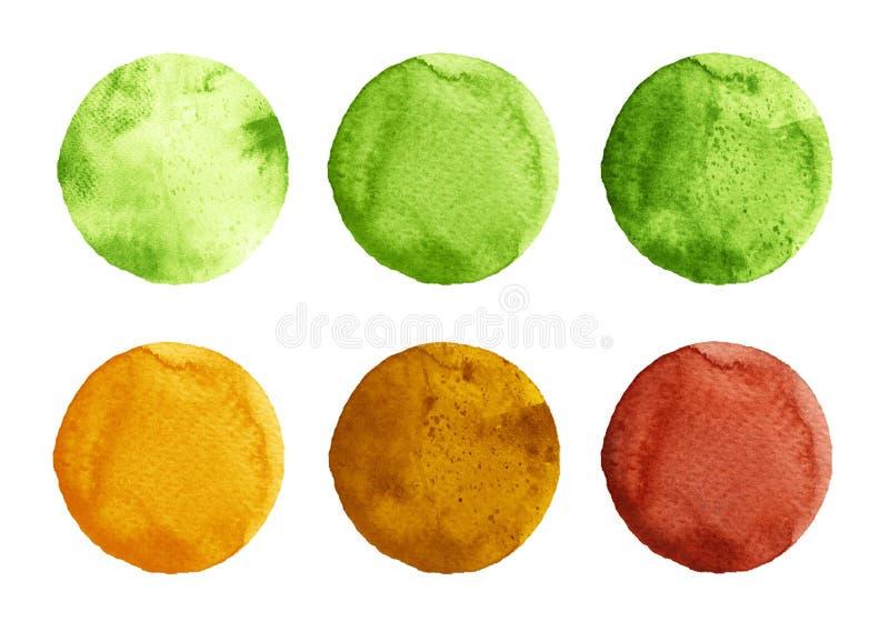 Akwarela okręgi w cieniach zieleń, kolor żółty i brąz, barwią odosobnionego na białym tle ilustracji