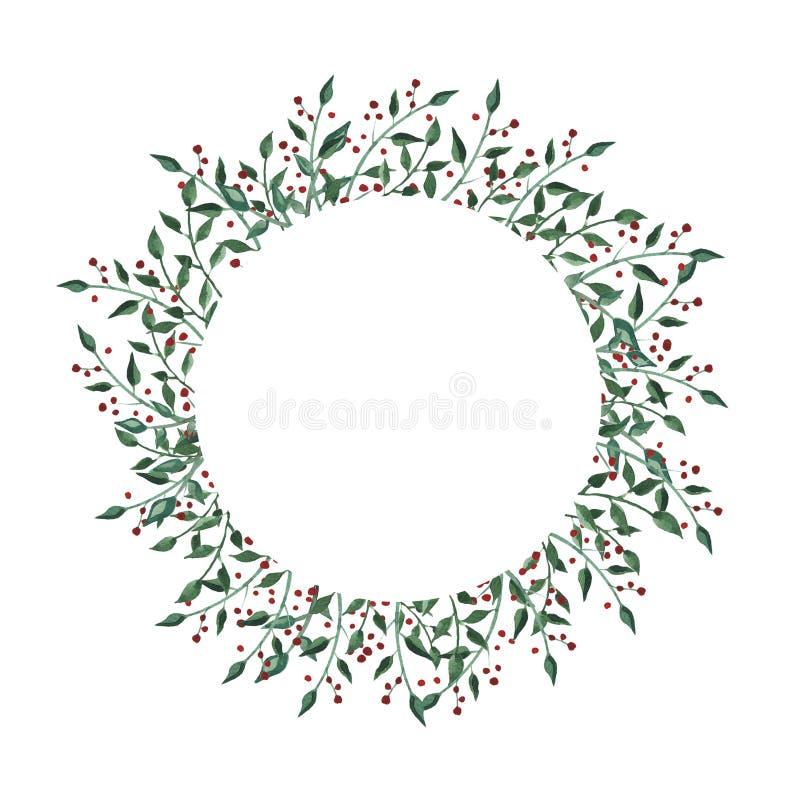 Akwarela okręgu rama z wildflower, ziele, liść kolekcja ogród, dziki ulistnienie, kwiaty, rozgałęzia się royalty ilustracja