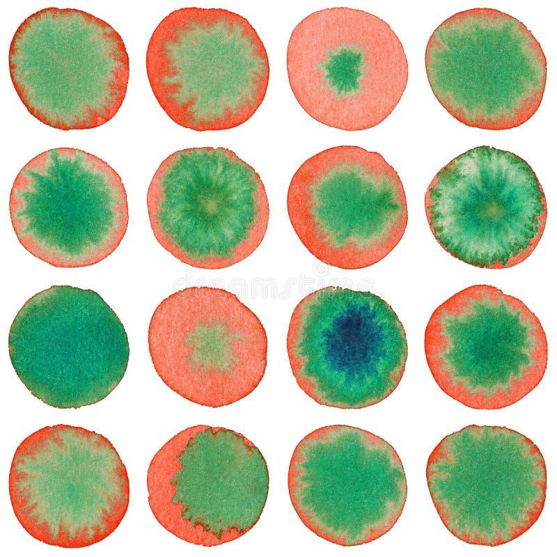 Akwarela okregów czerwieni zieleni bezszwowy wzór ilustracji