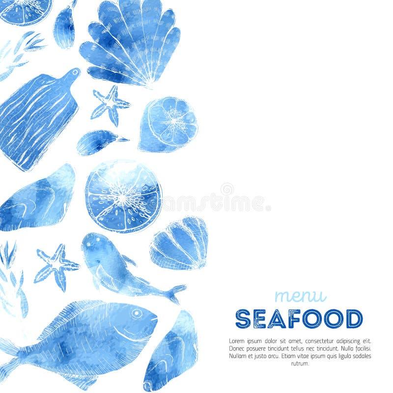 Akwarela owoce morza menu projekt z nakreślenie rzeczami Rybi projekta tło royalty ilustracja