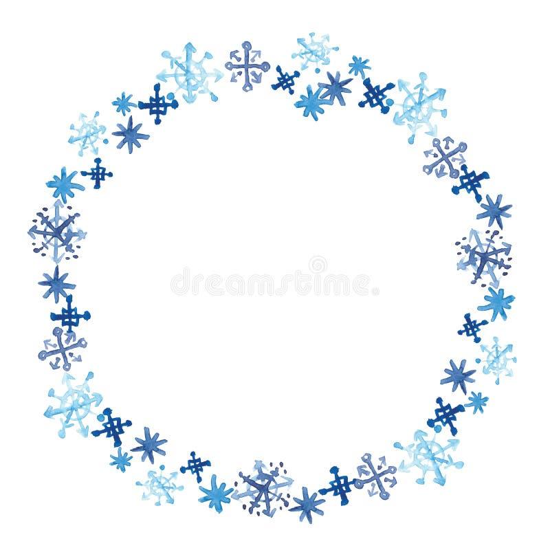Akwarela płatków śniegu round rama Zima maswerku karty szablon Dekoracyjny wianek dla bożych narodzeń i nowego roku projekta ilustracji