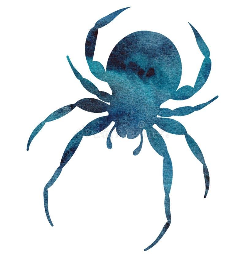 Akwarela pająka ręka malująca sylwetka ilustracja wektor