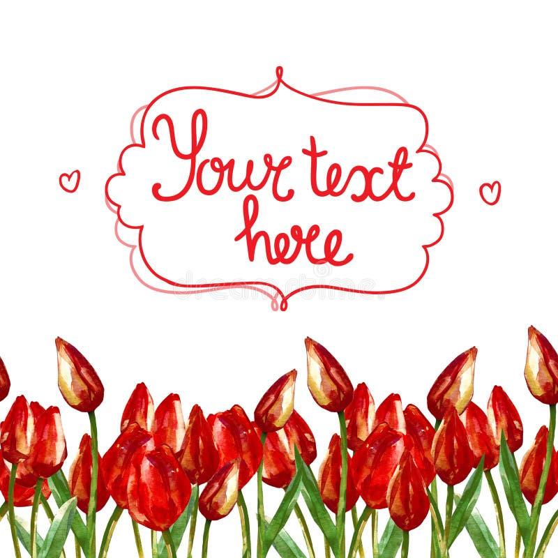 AKWARELA paska bezszwowa granica Z MALUJĄCYMI CZERWONYMI tulipanami ilustracji