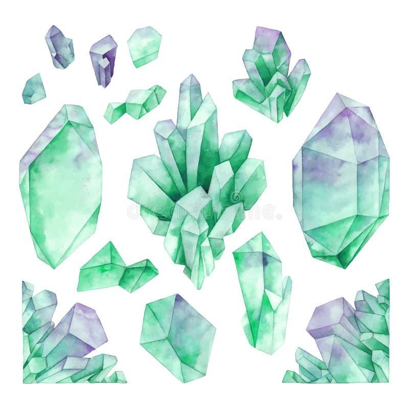 Akwarela pastelu barwioni kryształy ilustracji