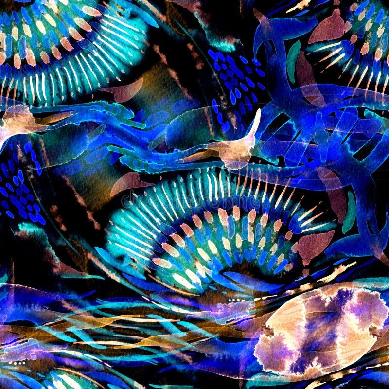 Akwarela patchworku bezszwowy wzór zdjęcie royalty free