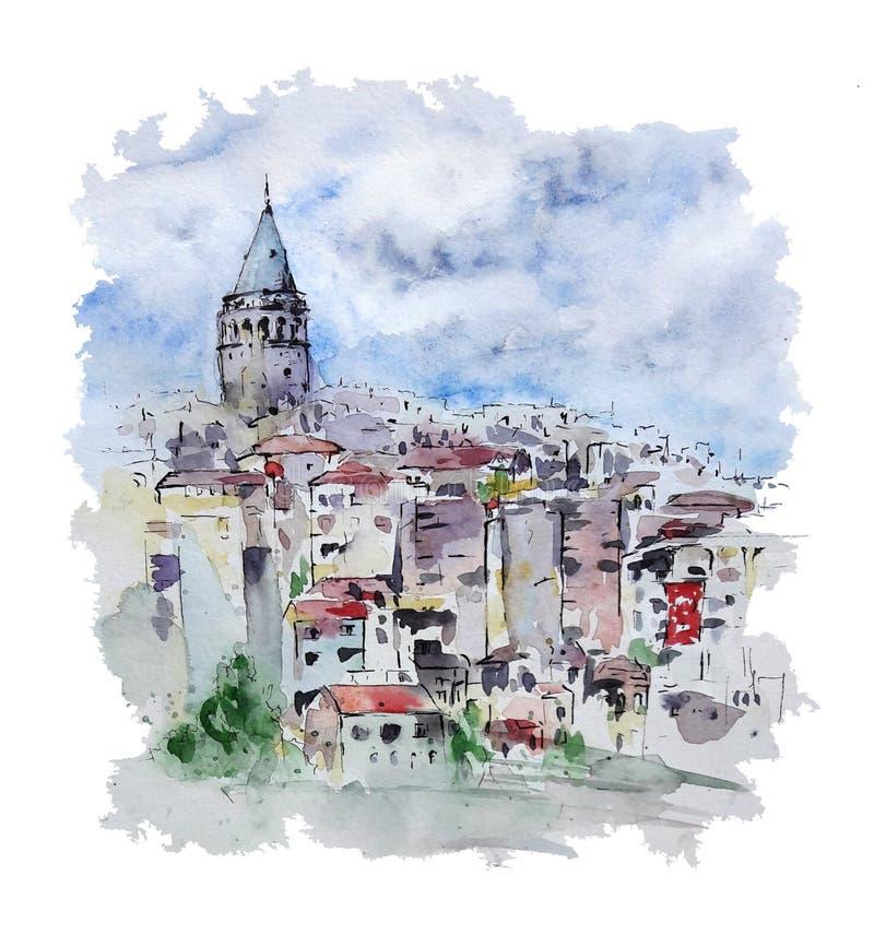 Akwarela pejzaż miejski z Galata wierza, Istanbuł, Turcja ilustracji