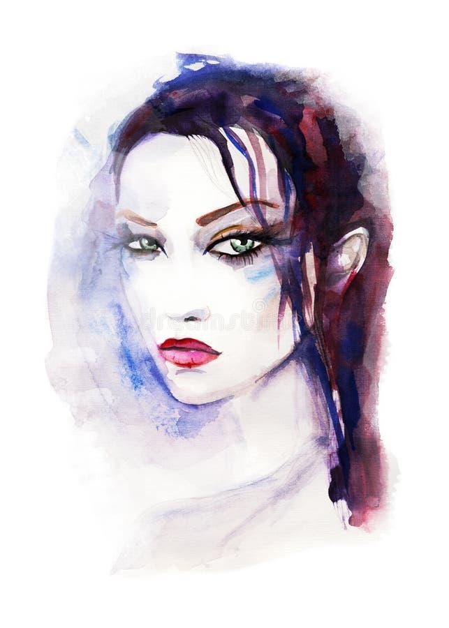 akwarela piękna twarz kobiety Ręka malująca mody ilustracja ilustracja wektor