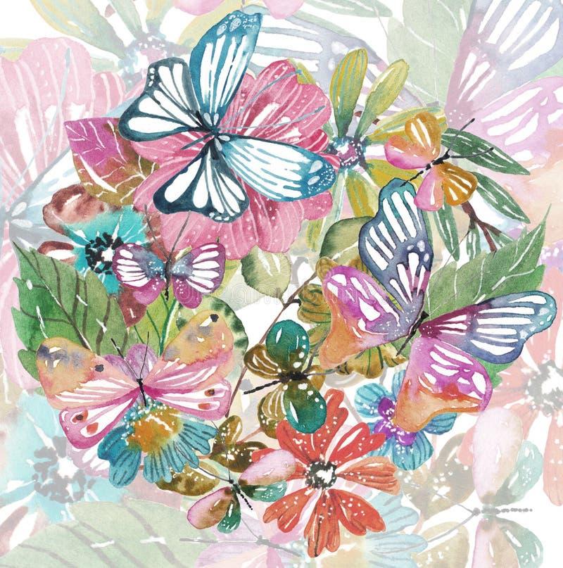 Akwarela piękny kwiecisty projekt z motylami royalty ilustracja