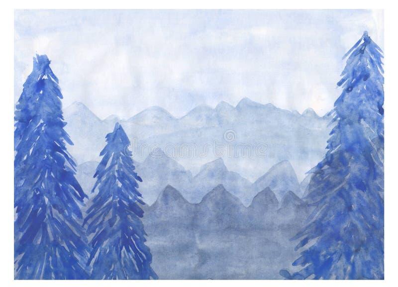 akwarela Piękny las w błękicie obrazy stock