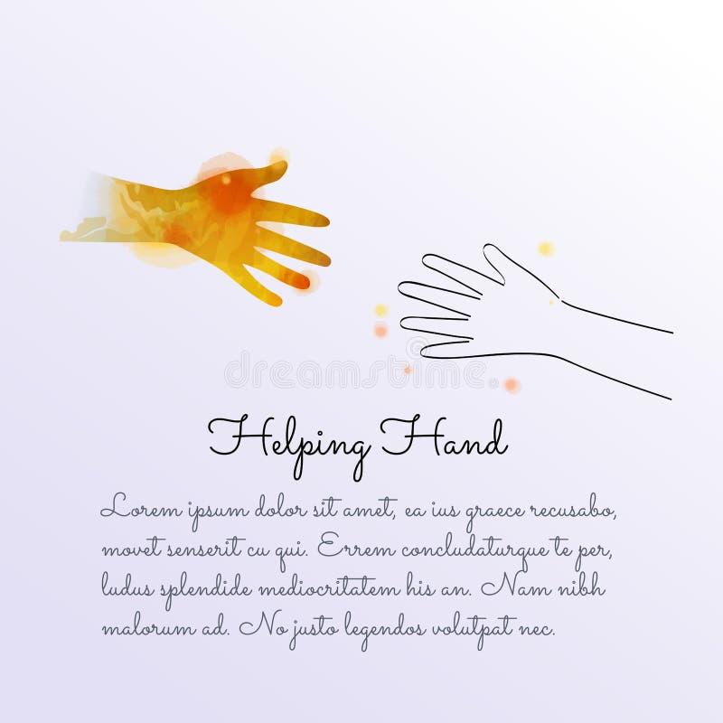 Akwarela pomocnej dłoni i zawody międzynarodowi dzień pokój Przyjaźni pojęcie royalty ilustracja