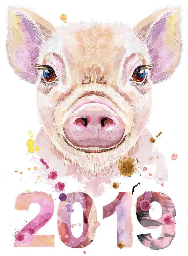 Akwarela portret mini świnia z rokiem 2019 ilustracja wektor