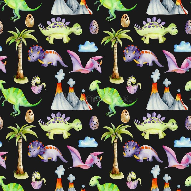 Akwarela prehistoryczni dinosaury wśród volcanoes i drzewek palmowych bezszwowego wzoru ilustracja wektor