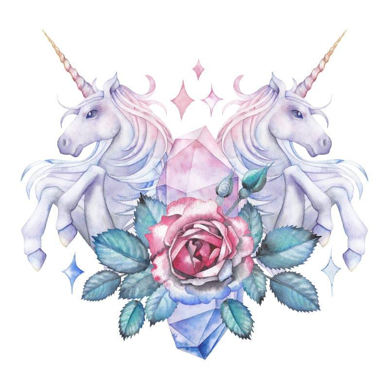 Akwarela projekt z jednorożec i różaną winietą royalty ilustracja
