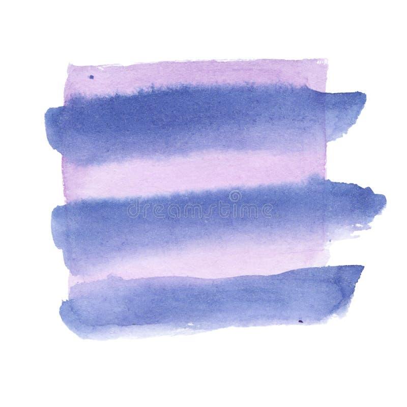 Akwarela projekta element purpury i błękitów kolory z szczotkarską teksturą - gradient machał gładkich lampasy światło - ilustracji