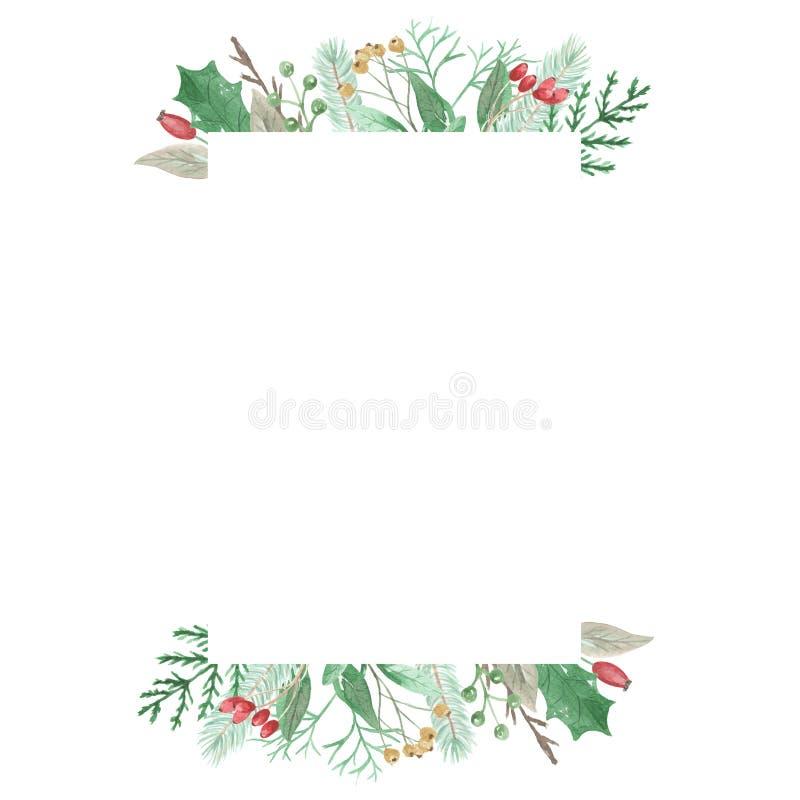 Akwarela prostokąta ramy bożych narodzeń liści Uświęconych jagod Świąteczna granica ilustracja wektor